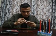 أشكال فنية على رؤوس أقلام الرصاص في غزة