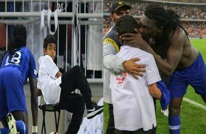 شاهد.. غوميز يعتذر لطفل أرعبه بحركته الشهيرة خلال احتفاله بهدفه في الاتحاد.. ويهديه قميصه