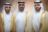 صورة تجمع مكتوم وحمدان مع ولي عهد إمارة أبو ظبي