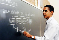 حصل على درجة البكالوريوس في العلوم السياسية من جامعة كولومبيا في نيويورك وعمره 23عامُا، ثم تخرج في كلية هارفارد للحقوق وعمره 31 سنة وعمل كمحاضر في كلية الحقوق بجامعة شيكاغو وكان من أشهر المدرسين في الكلية طوال تلك الفترة