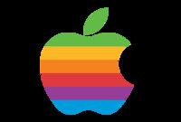 لكن بسبب صغر حجم الصورة وعدم وضوح تفاصيلها قرر استبداله بتفاحة مقضومة، ترمز إلى ثمرة المعرفة التي قضمها آدم في الجنة، ملونة بألوان قوس القزح في إشارة إلى قدرات أبل الشاملة