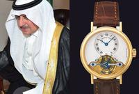 ويرتدي الأمير فهد بن سلطان بن عبدالعزيز ساعة من ماركة ساعة piaget tourbillon السويسرية  الفاخرة