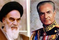 محمد رضا بهلوي الشاه (الملك) الأخير لإيران و روح الله الخميني.