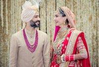 وتزوجت سونام من رجل الأعمال الهندي اناند أهوجا في حفل زفاف ضخم حضره جميع نجوم بوليود.. شاهد صور الزفاف